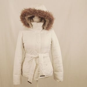 Aeropostale Fleece Lined Button Down Coat, White